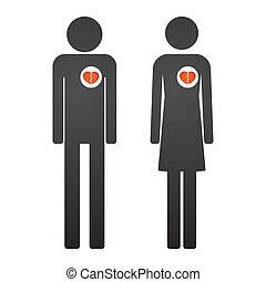 心, 男性, 女性, pictogram