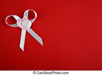 心, 白色紅, 背景, 弓