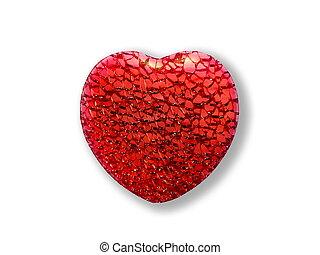心, 白色紅, 背景, textured