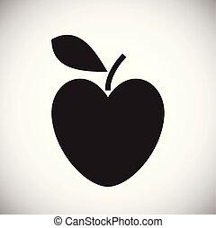 心, 白, アップル, 背景, 形づくられた