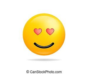 心, 目, smiley, character., シンボル。, 黄色の額面, ベクトル, 微笑, アイコン, 漫画, emoji