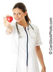 心, 看護婦, 彼女, 手