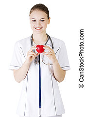 心, 看護婦, 若い, 彼女, 手