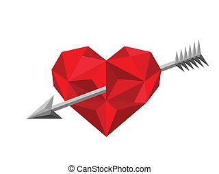 心, 矢, 穴を開けられる