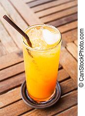 心, 立方体, 氷, ジュース, オレンジ, 新たに