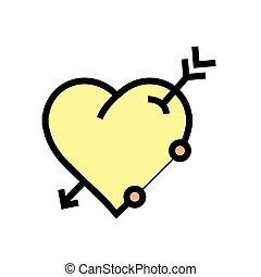 心, 箭, 黄色, 图标