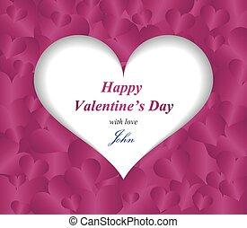 心, 紫色, パターン, 挨拶, バレンタイン, 紙カード