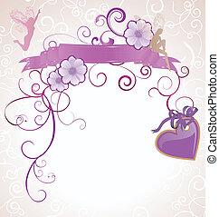 心, 紫色, 妖精, 背景, すみれ, 白い花, scrollon, ∥あるいは∥