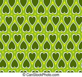 心, 緑の背景