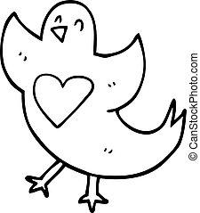 心, 線画, 漫画, 鳥