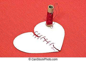 心, 線, 紅的背景, 打破