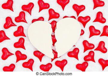心, 織品, 打破, 紅的背景, 心, 白色, 卡片