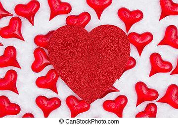 心, 織品, 背景, 心, 白色, 閃光, 紅色