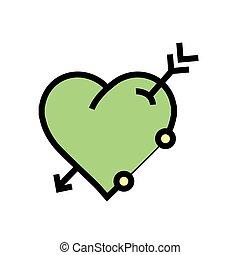 心, 绿色, 箭图标