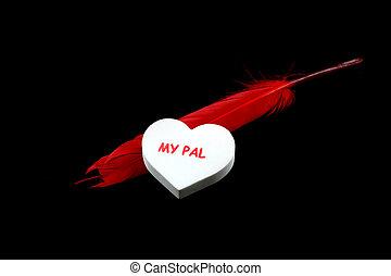 心, 羽, 白い赤