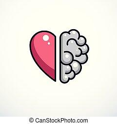 心, 考え, アイコン, 概念, intelligence., 精神, 感情, 脳, ベクトル, チームワーク, 理性的, ∥間に∥, ロゴ, バランス, ∥あるいは∥, 対立, design.