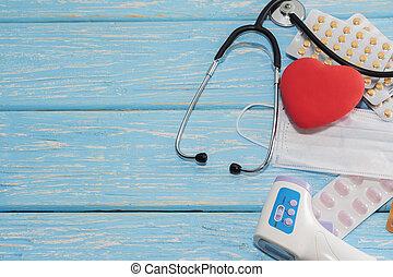 心, 聴診器, 木製である, 健康, バックグラウンド。, うそ
