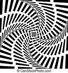 心, 背景。, 抽象的, 動き, イラスト, バックグラウンド。, デザイン, 回転, しまのある, vector-...
