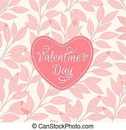 心, 背景, 粉红色, 植物群