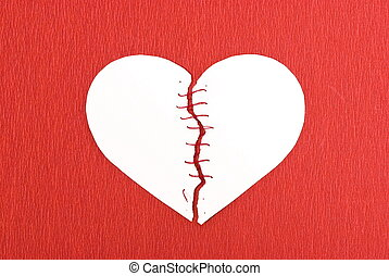 心, 背景, 線, 打破, 紅色