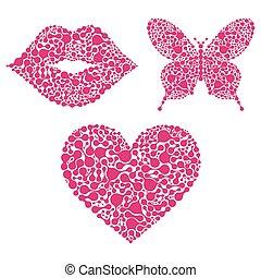 心, 背景, 蝶, 唇, 白