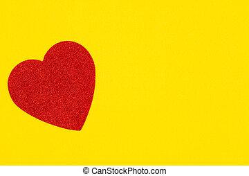 心, 背景, 黃色, 材料, 感到, 紅色
