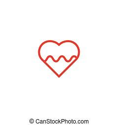 心, 脈拍, ベクトル, テンプレート, ロゴ, アイコン