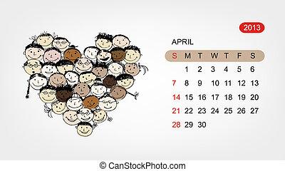 心, 艺术, 2013, 矢量, 设计, april., 日历