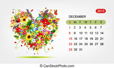 心, 艺术, 2013, 矢量, 设计, december., 日历