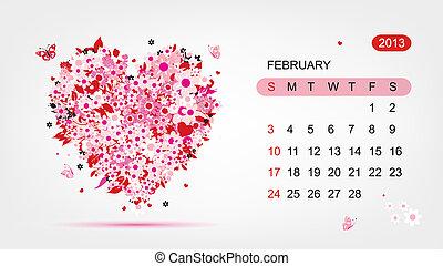 心, 艺术, 2013, 矢量, 设计, february., 日历