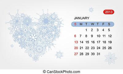 心, 艺术, 2013, january., 矢量, 设计, 日历