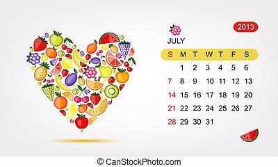 心, 艺术, 2013, july., 矢量, 设计, 日历