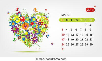心, 艺术, 2013, march., 矢量, 设计, 日历