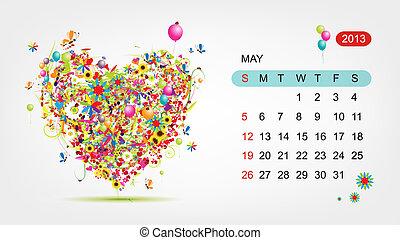 心, 艺术, 2013, may., 矢量, 设计, 日历