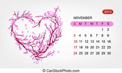 心, 艺术, 2013, november., 矢量, 设计, 日历