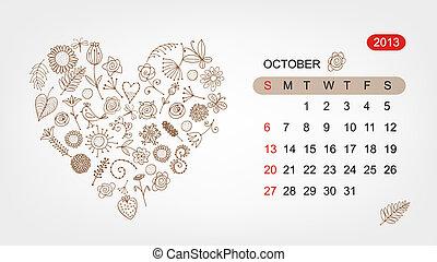 心, 艺术, 2013, october., 矢量, 设计, 日历