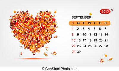 心, 艺术, 2013, september., 矢量, 设计, 日历