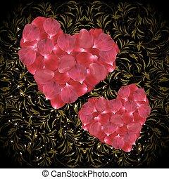 心, 花弁, バラ, ピンク