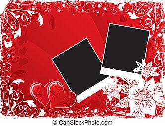 心, 花, バレンタインデー, 背景