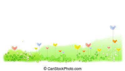 心, 花, 中に, 緑の芝生