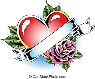 心, 花, 入れ墨