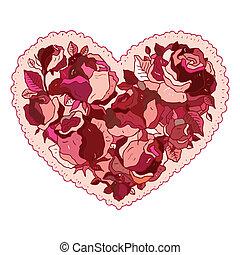 心, 花, roses.