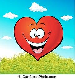 心, 草, 緑, 漫画, 赤