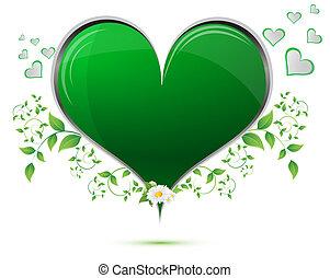 心, 葉, 緑, 形