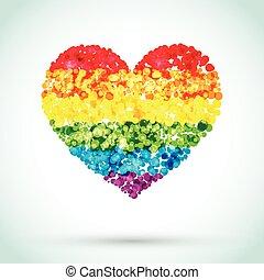 心, 虹, ボタン, 背景, lgbt