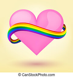 心, 虹, lgbt, 背景, ribbon.