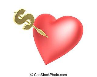 心, 衝突, ドル, さっと動きなさい
