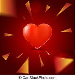 心, 要素, 赤い背景, 照ること