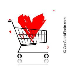 心, 買い物, 大きい, カート, デザイン, あなたの, 赤