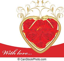 心, 赤いバラ